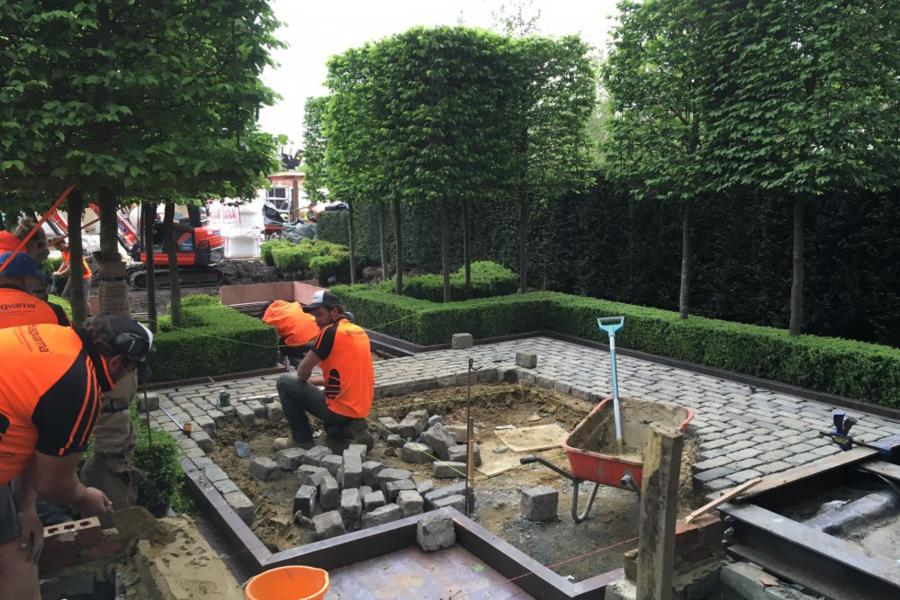 Charlie Albone and Conway Landscaping getting the job done at on the Support garden for Husqvarna