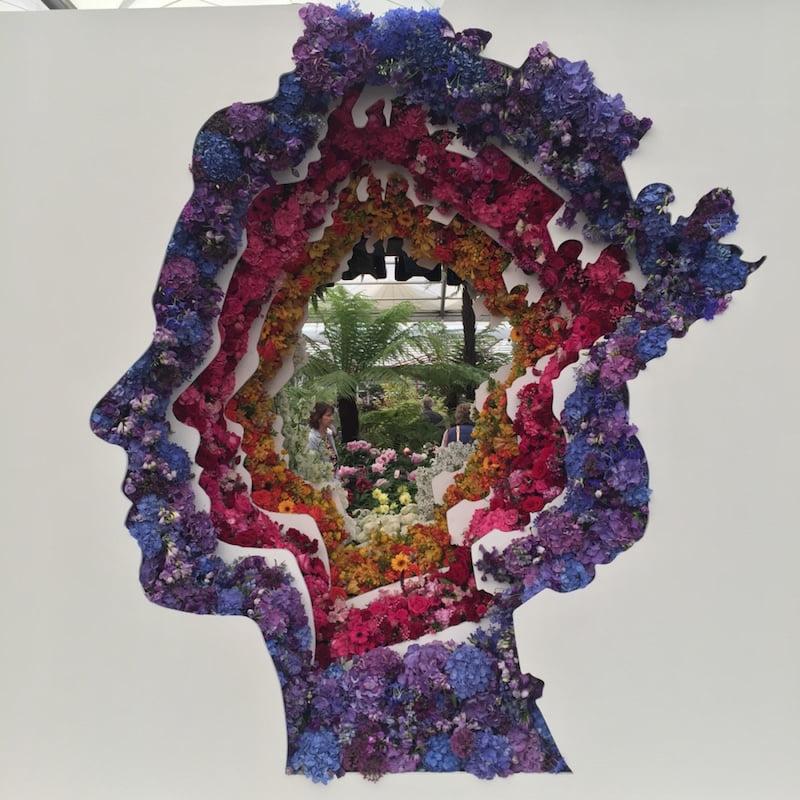 Queen Elizabeth floral portrait