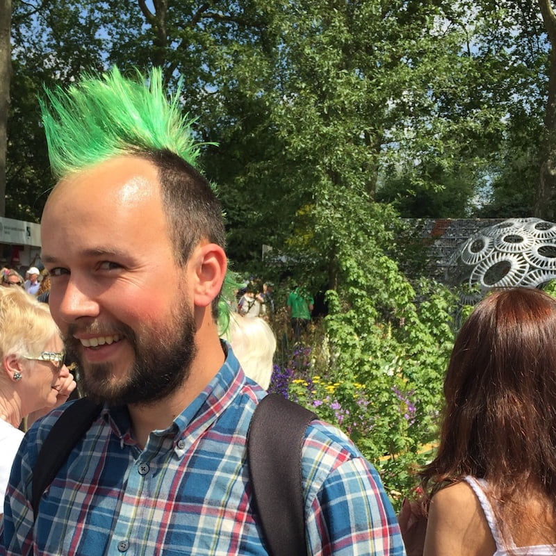 Green mohawk at the Chelsea Flower Show, 2016