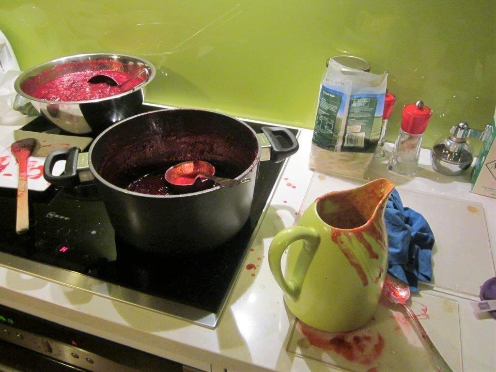 A messy job filling the jars