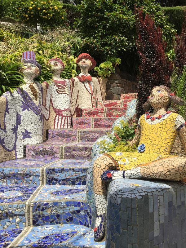 Mosaic steps and characcters at Giant's House