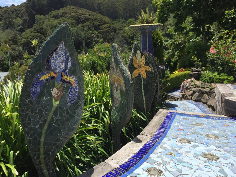 Mosaic pathways and sculpture at Giant's House