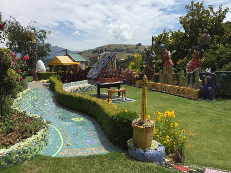 Mosaics in the garden at Giant's House with spectacular views