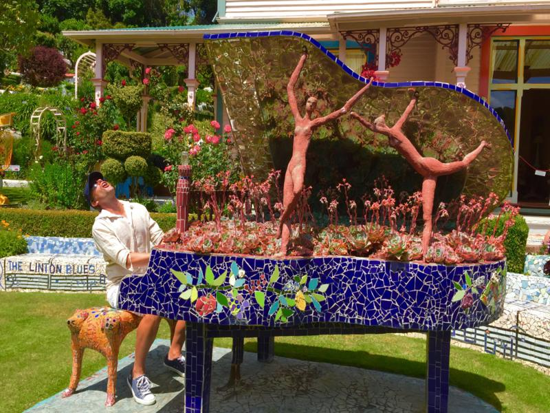 The mosaic piano is too inviting to refuse