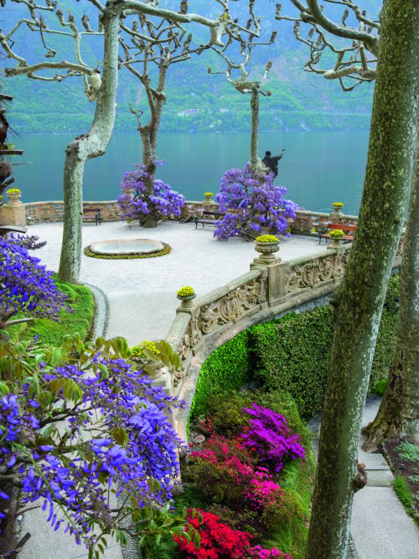 "Villa del Balbianello, Lake Como. 'Gardens of the Italian Lakes' by Steven Desmond, photography by Marianne Majerus, p125. ""Where space can be found, as here at the Villa del Balbianello, all that is needed is a skilful and knowing hand to form garden foregrounds of simple beauty. The climate will do the rest."""