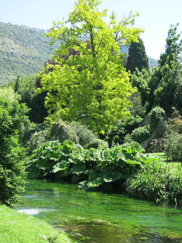 The garden of Ninfa, Italy. (The famous garden of Ninfa, Lazio,