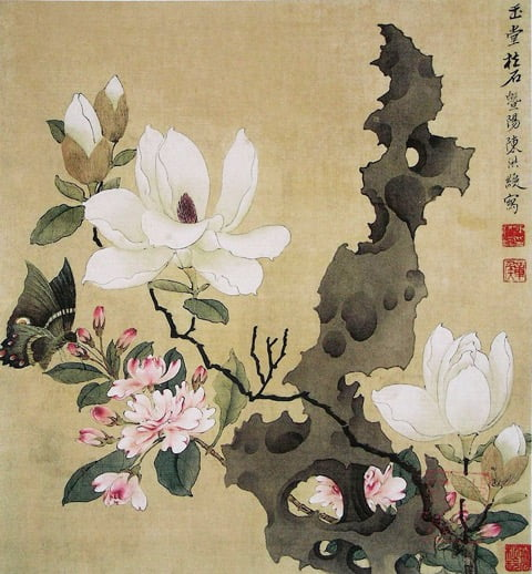 Ming painting of magnolia, paeony and rock. Photo by Chen Hongshou