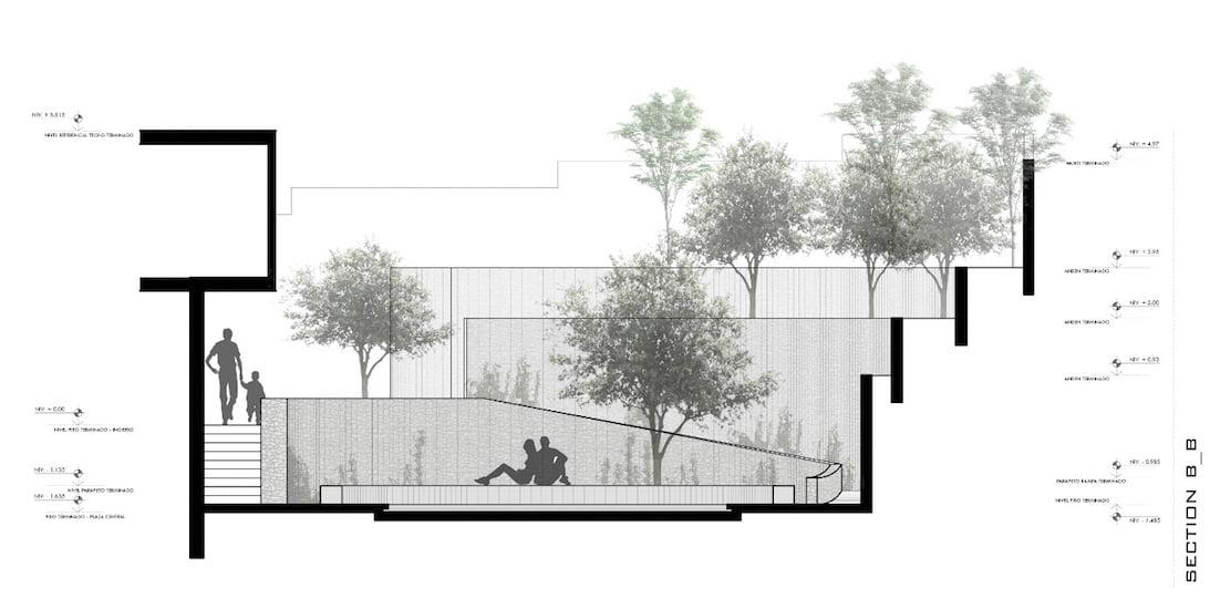 Section B-B for Cockfighting arena garden. Design Nikolás Briceño