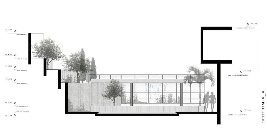 Section plan A-A for Cockfighting Arena garden.