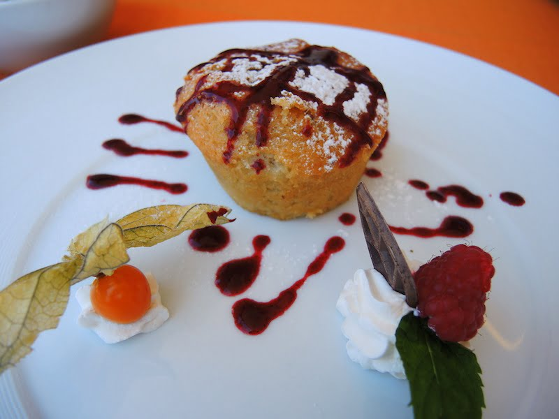 Delicious Italian raspberry dessert we had during our hike in the Dolomites