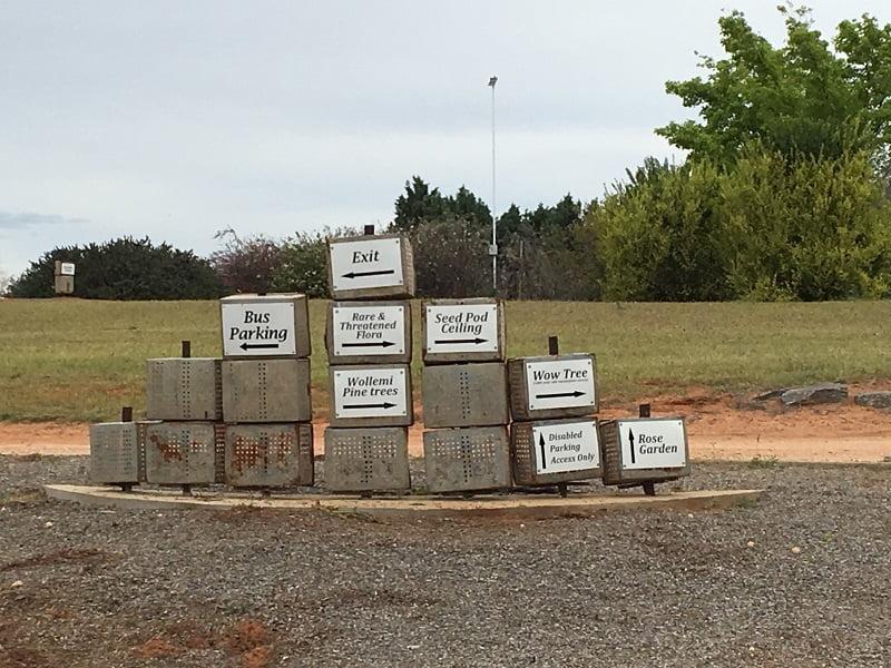 Dip tins signage at Australian Inland Botanic Gardens Mildura