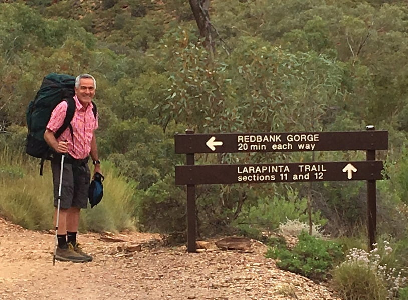 Peter ready to walk the Larapinta Trail