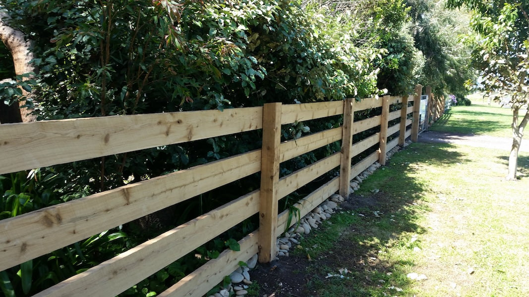 Cypress fence with gaps and planted windbreak