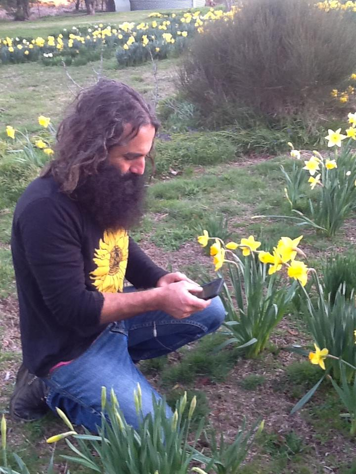 Costa Georgiadis of Gardening Australia inspects Rydal's daffodils in 2016