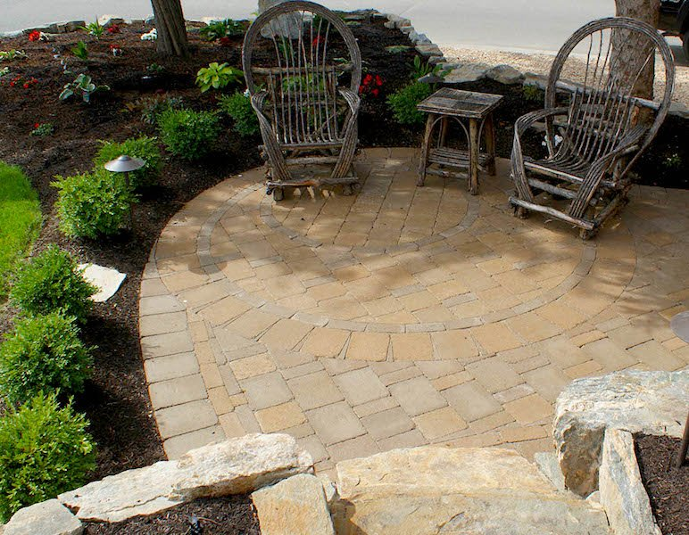 Paving with circle design - design and construct by Creative By Design, Calgary, Alberta, Canada