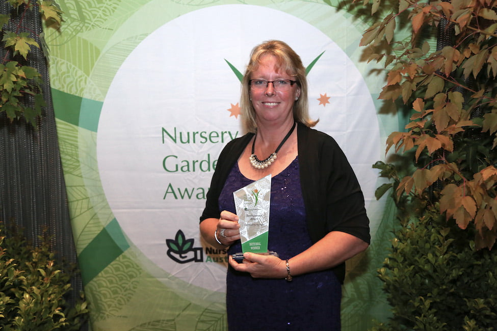 Sonja Cameron accepts the Nursery and Garden Industry Environment Award 2016